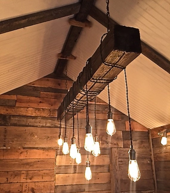 Reclaimed Wood Beam Chandelier by ChicagoLights on Etsy