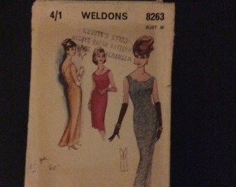 Vintage 1960's Weldons 8263 sewing pattern for Mad Men style evening dress Bust 36""
