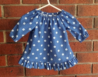 Baby long sleeve peasant dress  with ruffle in navy floral for fall in premium cotton Ella Blue fabric // size 3 6 12 18 24 months