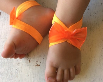 Barefoot sandals; baby barefoot sandals; orange neon bow sandal ; toddler barefoot sandal; sandal