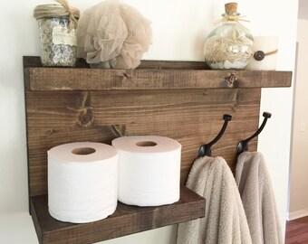 Bathroom shelf with towel hook, towel rack, towel hook, bathroom storage