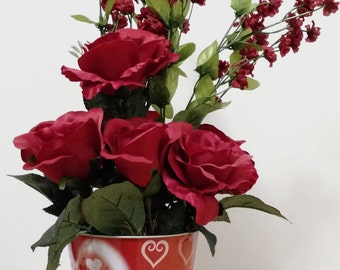 Gift For Her, Valentines Day, Rose Arrangement, Red Heart, Valentine Flowers, Spring Flowers, Valentine Decor, Red Roses, Floral Arrangement
