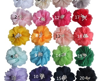 20 pcs 2.75'' Chiffon bow WITHOUT clips  Chiffon flower Fabric Flowers Bow Supplier Assembly for hair bow Headband 20 Colors Available