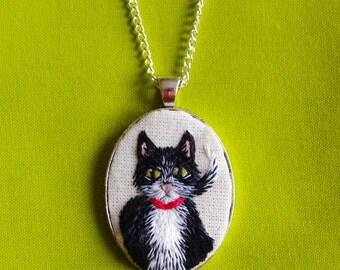 Tuxedo Cat Hand Embroidered Cameo Pendant