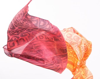 """Silk scarf. Hand painted. Painted with the technique of batik. Natural silk foulard. 180x60cms (70.87 """"x23,62"""")"""