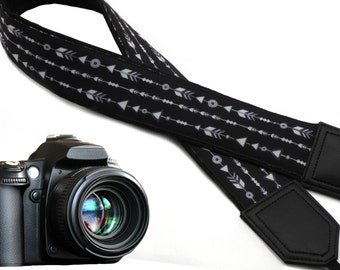 Black camera strap. Arrows. Stripes. DSLR Camera Straps. Gift for Men. Photo Camera accessories by InTePro