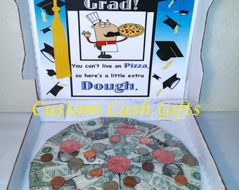 "MONEY GIFT Made with Real Money. ""Graduation"" Moolah Pizza. A Fun New Way to Celebrate Special Ocassions."