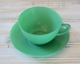Fire King Rainbow Primary Green Cup & Saucer Set
