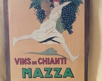 Antique French Wine Ad Plaque