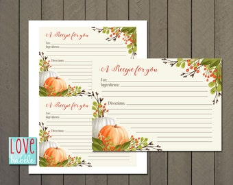 "Fall Recipe cards, Kitchen Bridal Shower, Autumn Thanksgiving Baking PRINTABLE DIGITAL FILE 4"" x 5.5"""
