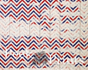 6ftx6ft  Red, White, and Blue Grungy Chevron Wood  Vinyl Photography Backdrop- 4th of July, Memorial Day, Red, White, & Blue Backdrops