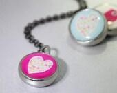 kids necklace, kids jewelry, heart charm, pink heart/flowers, #15, kids accessories, pendant, Interchangeable photo jewelry