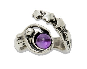 Sterling Starbirth adjustable ring shown with Amethyst
