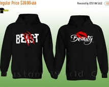 ON SALE TODAY Couple Hoodie - New Design Beast & Beauty - Couple Matching Sweatshirts - Sweaters Hoodie His And Hers