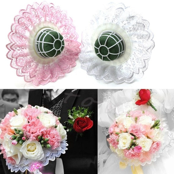 Wedding Bride Bridal Flower Handle Wor Diy Bouquet Holder With Lace Collar From -9484