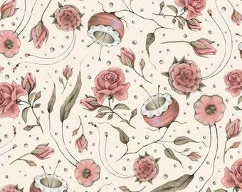 Lost and Found,Mirabelle Curiosities, Ecru Beige Floral Santoro cotton fabric