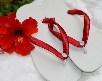 Bridal Party Wedding Flip Flops *RED* white flats with rhinestone - red, pink, peach, scarlet, burgundy,blush