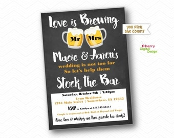 Love is brewing invitation. Stock the Bar Invitation. Stock the Bar Party. Printed or Printable Invitations.  Couples Shower Invitation.