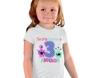 This Little Monster is 3 Birthday Girl Shirt