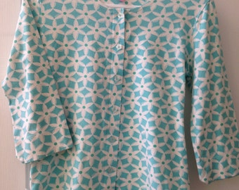 Lilly Pulitzer Soft Turquoise and White Flower Knit Top