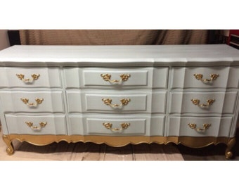 Mint + Gold 1950s Thomasville French Provinical Dresser, Credenza, Buffet, Nursery, changimg table