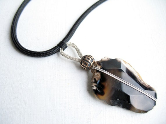Gifts Made Of Stone : Rustic gifts for men hand made jewelry brown stone antique