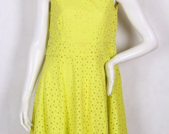 90s vintage dress intense yellow color almost neon size 42 XL