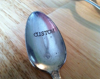 Custom Hand Stamped Vintage Spoon