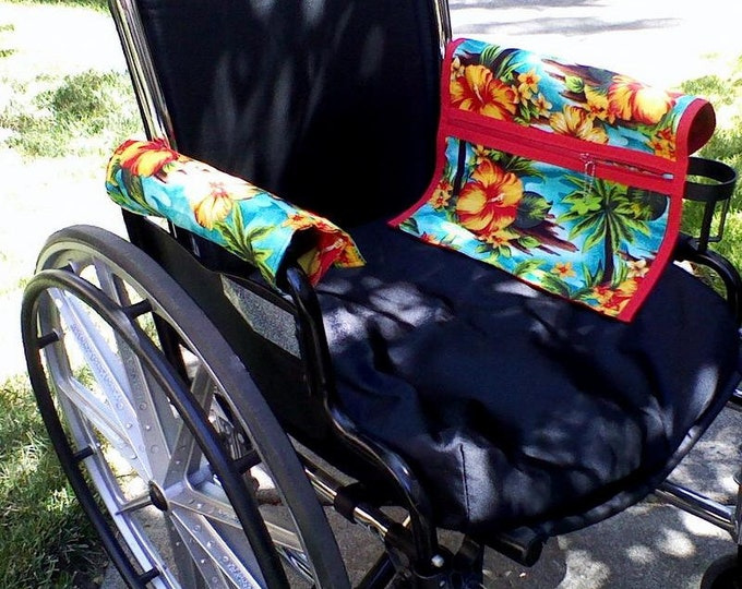 Featured listing image: Tropical Wheelchair or Power chair Armrest Pouch/Bag or Walker, lined zippered pocket .Handmade, cotton, washable.