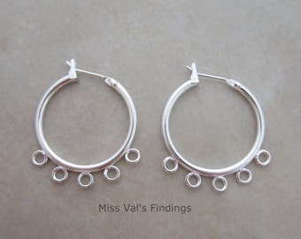 10 silver plated ear hoops with beading loops