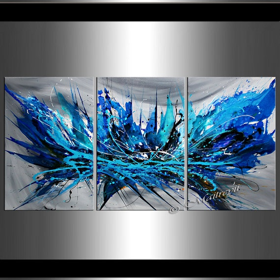 Large Abstract Painting Blue Coral 72 Extra Large By