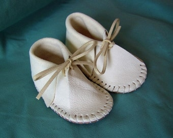 Traditional Baby Moccasins / Leather / Hand Stitched