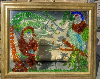 Genuine Sea Glass Artwork - Jungle Parrot and Toucan