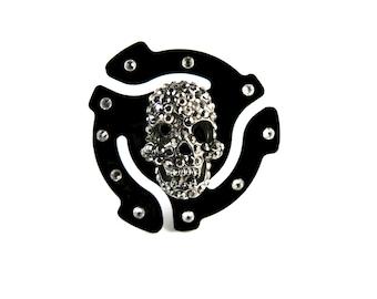45 rpm Adapter Crystal Skull Ring/Gifts For Her/Adjustable Ring/Hammered Finish/Silver Plated/Pave Skull/Skull/crystal/Gunmetal/Vinyl/Retro