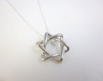 Star of David Necklace, Sterling Silver Star of David, Magen David Pendant, Solid