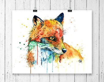 FOX 2 PRINT, Fox Art, fox watercolour, fox painting, woodland animal, forest animal, fox watercolor, gallery wall, canadian wildlife
