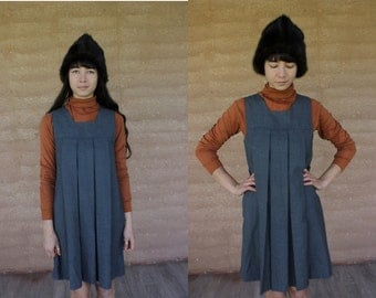1990's grey perma press pull over tunic dress with boat neckline basic