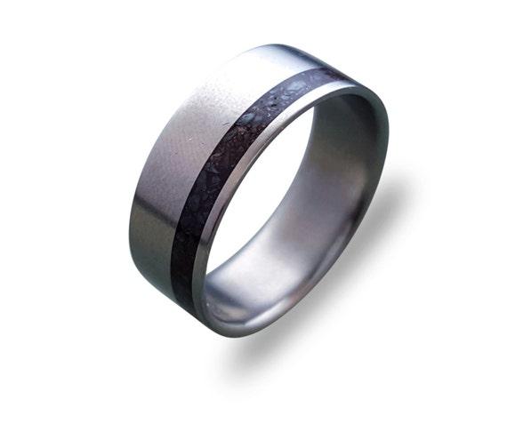 Titanium ring for men with Dinosaur Fossil Inlay, mens titanium band men ring