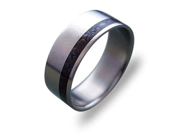 Titanium ring for men with Dinosaur Fossil Inlay, mens titanium band men ring