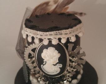 Leather Steampunk Mini Top Hat