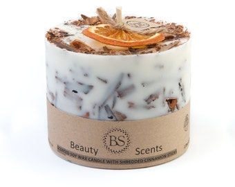 Handmade Scented Soy Candle With Shredded Cinnamon Sticks D 9 H 8.5 cm