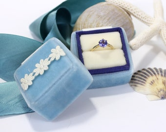 Ring Box Vintage Style Inspired in Velvet and Matching Ribbon With Vintage Lace Accent Across Top, Use Your Own Wedding Gown Lace Box.