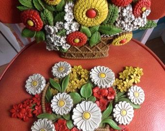 Vintage Syroco Flower Baskets Wall Set