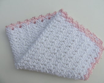 Crocheted Wash Cloth/Face Cloth/Flannel White with Pink Trim 100% Egyptian Cotton Baby, Toddler, Women Reusable Wipes