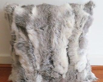 100% real Rabbit Fur throw cushion cover - Soft, Luxurious, Vintage.