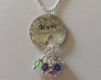 Personalized Custom Hand Stamped Name or Initial Swarovski Crystal Birthstone Necklace Heart Punched disc