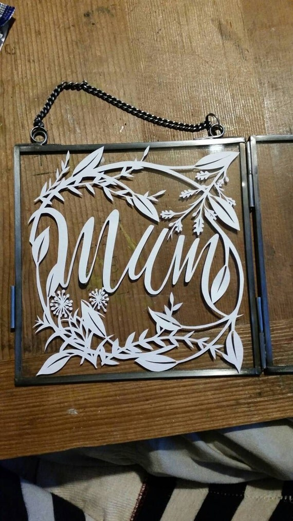Framed Mum papercut. Original design, with floral boarder. -gift for mum - mothers day gift