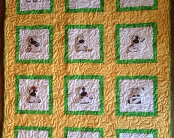 Cow Baby Quilt Embroidered Farm Animal
