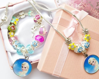 SET-Elsa Bracelet & Necerlace set with Tinkerbell fairy all charms in Gift box or Gift pouch childrens little girls
