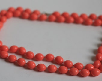 Vintage 60s Orange Oval Long Layering Necklaces